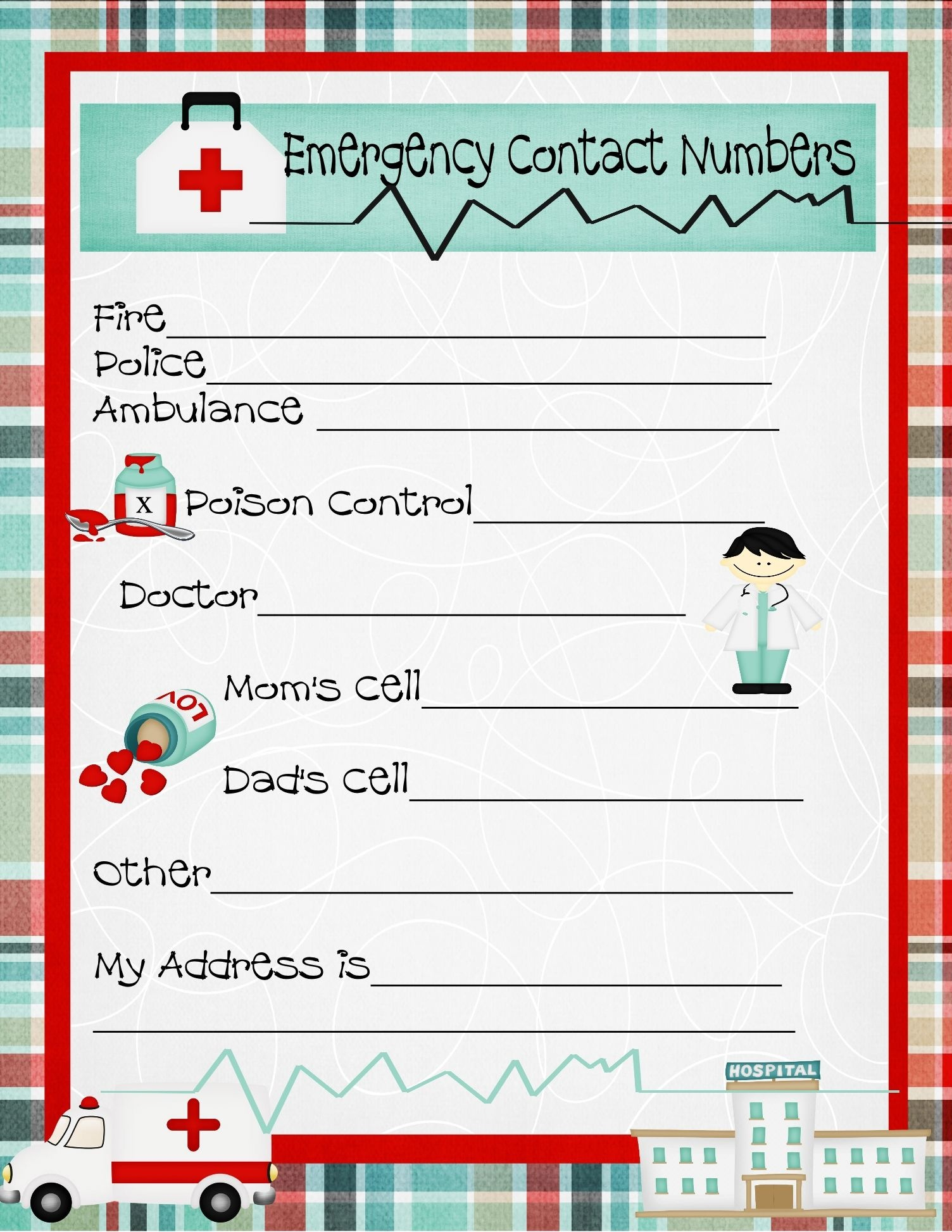Emergency Numbers Printable | Emergency Contact Phone Numbers And A - Free Printable Emergency Phone List