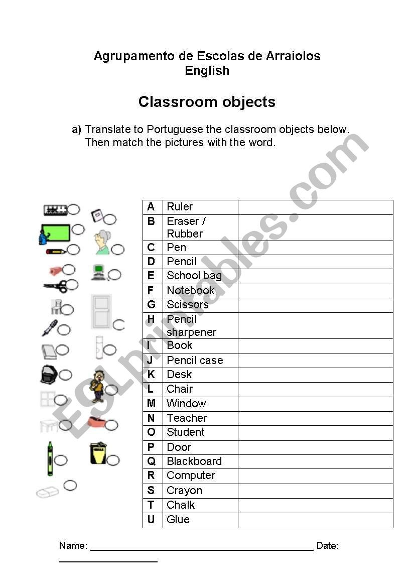 English Worksheets: Classroom - Free Printable Portuguese Worksheets