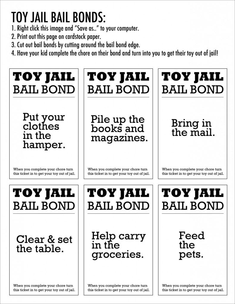 Enough! Why You Should Put Your Kids Toys In Jail & How Your Child - Get Out Of Jail Free Card Printable