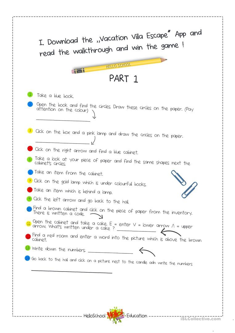 Escape Room Game Worksheet - Free Esl Printable Worksheets Made - Free Printable Escape Room Game