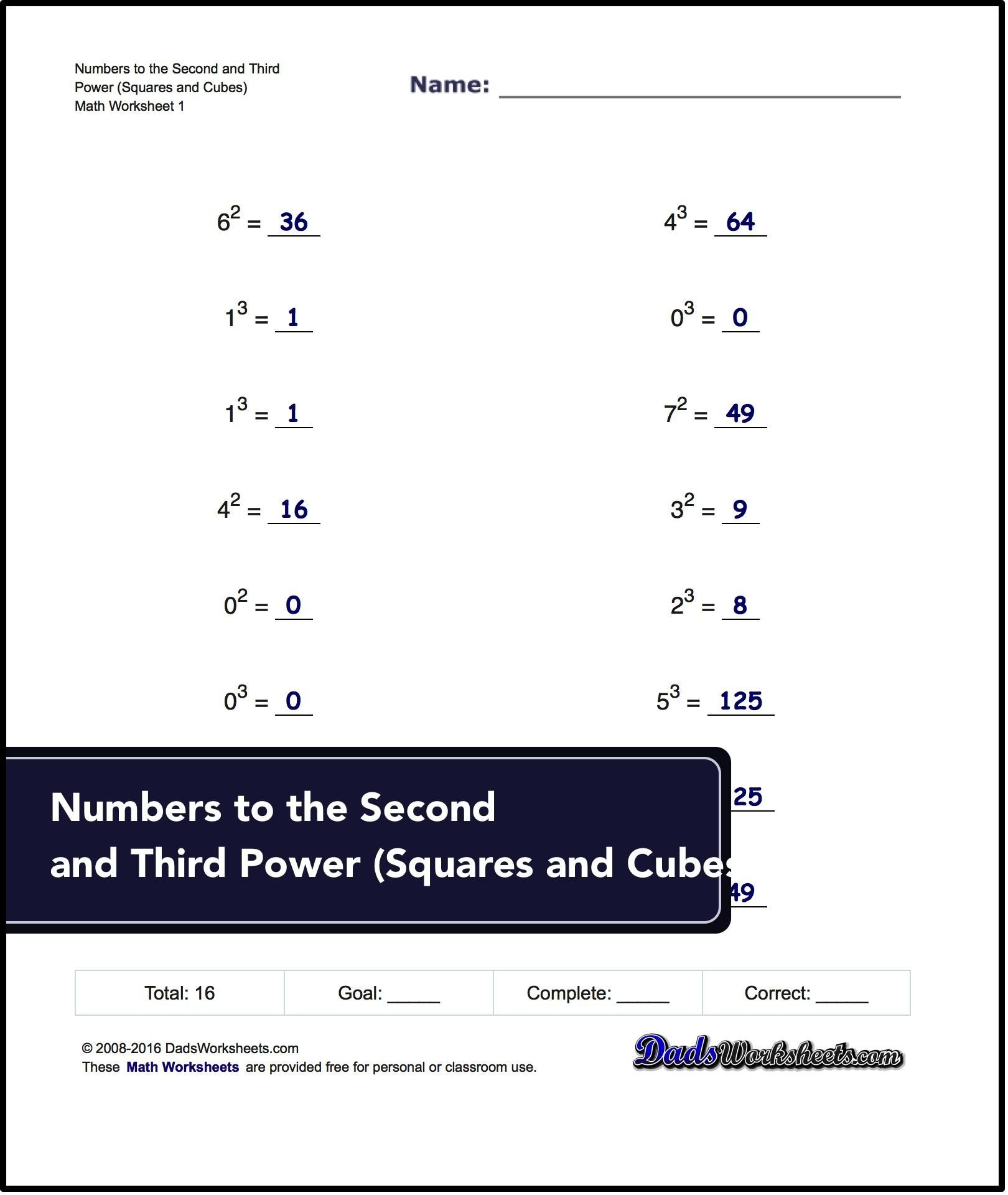 Exponents Worksheets For Numbers To The Second And Third Power - Free Printable Exponent Worksheets