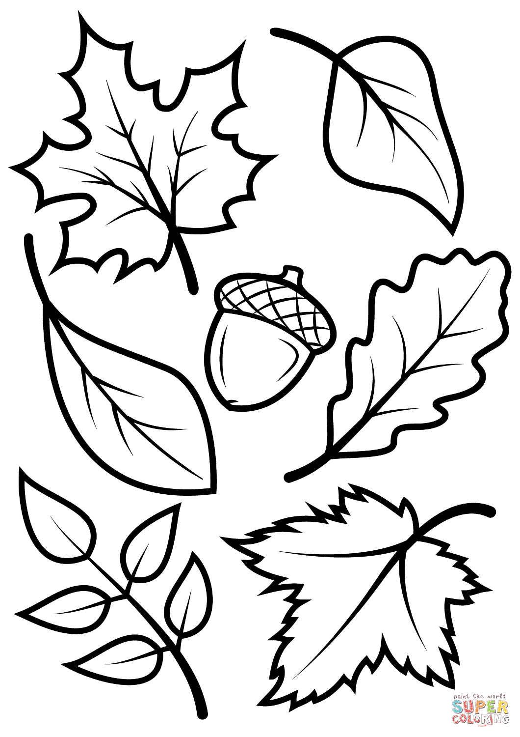 Fall Leaves And Acorn Coloring Page | Free Printable Coloring Pages - Free Printable Leaves
