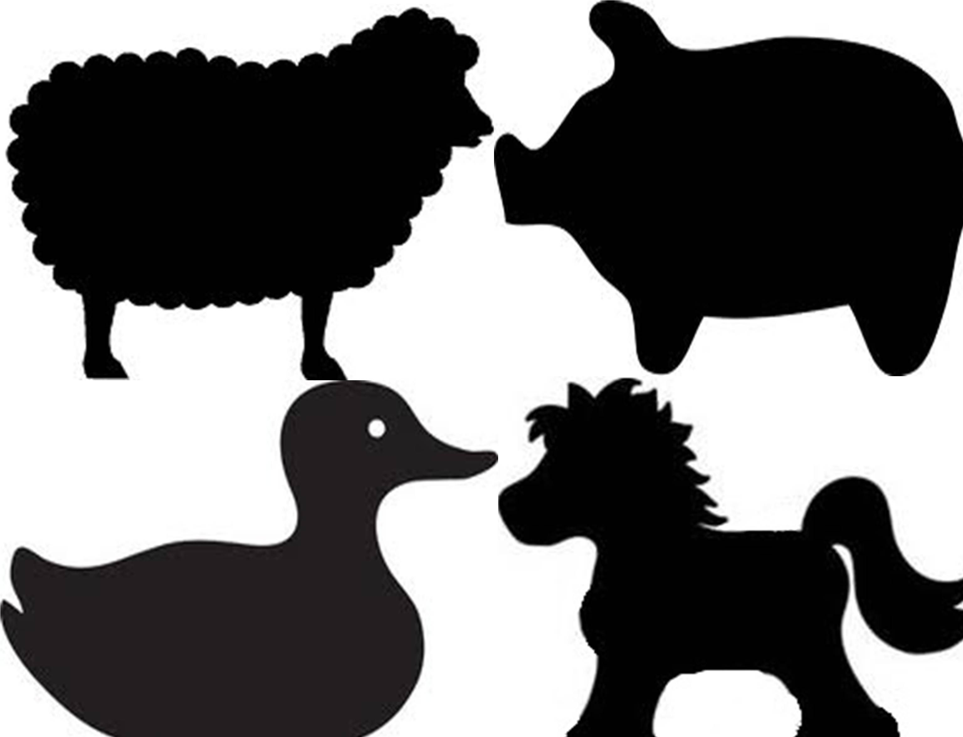 Farm Animal Silhouettes For Barnyard Birthday Party Cutouts. Cut - Free Printable Farm Animal Cutouts