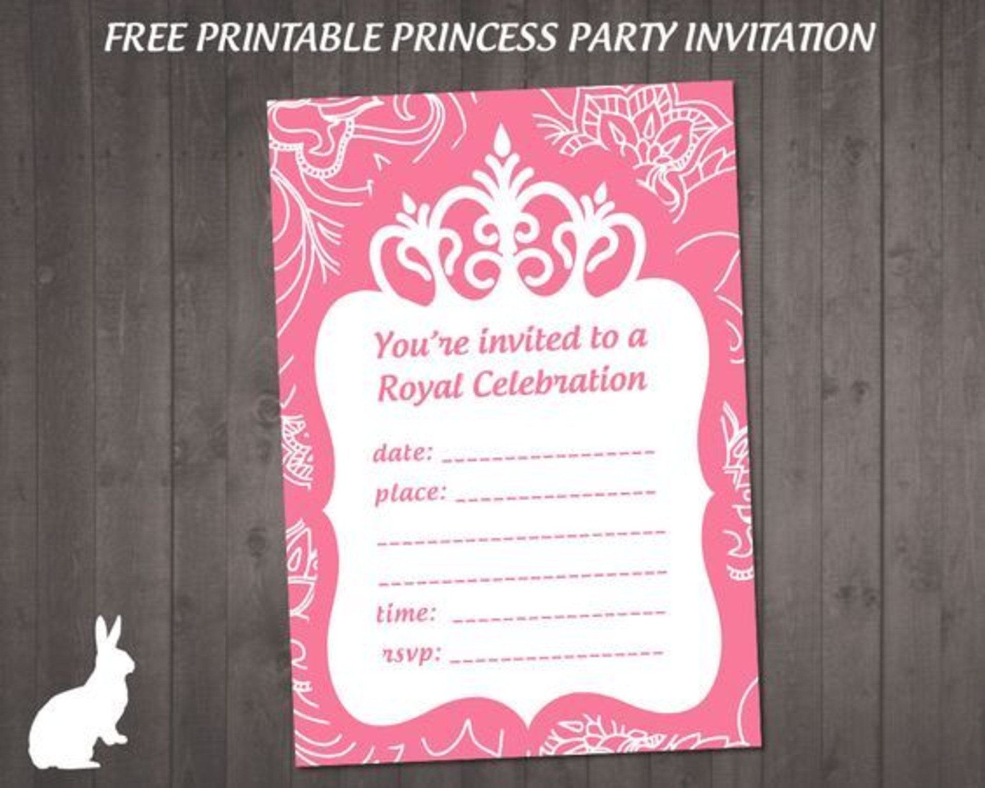 Ff083 Free Princess Party Invitation | Ruby And The Rabbit - Free Printable Princess Invitations