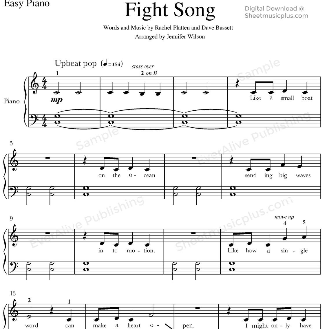 Fight Songrachel Platten For Easy Piano #sheetmusic #piano - Free Printable Sheet Music For Piano Beginners Popular Songs