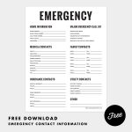 Fine & Dandy Freebies! Emergency Contact Sheet Printable #organizing   Free Printable Emergency Phone List