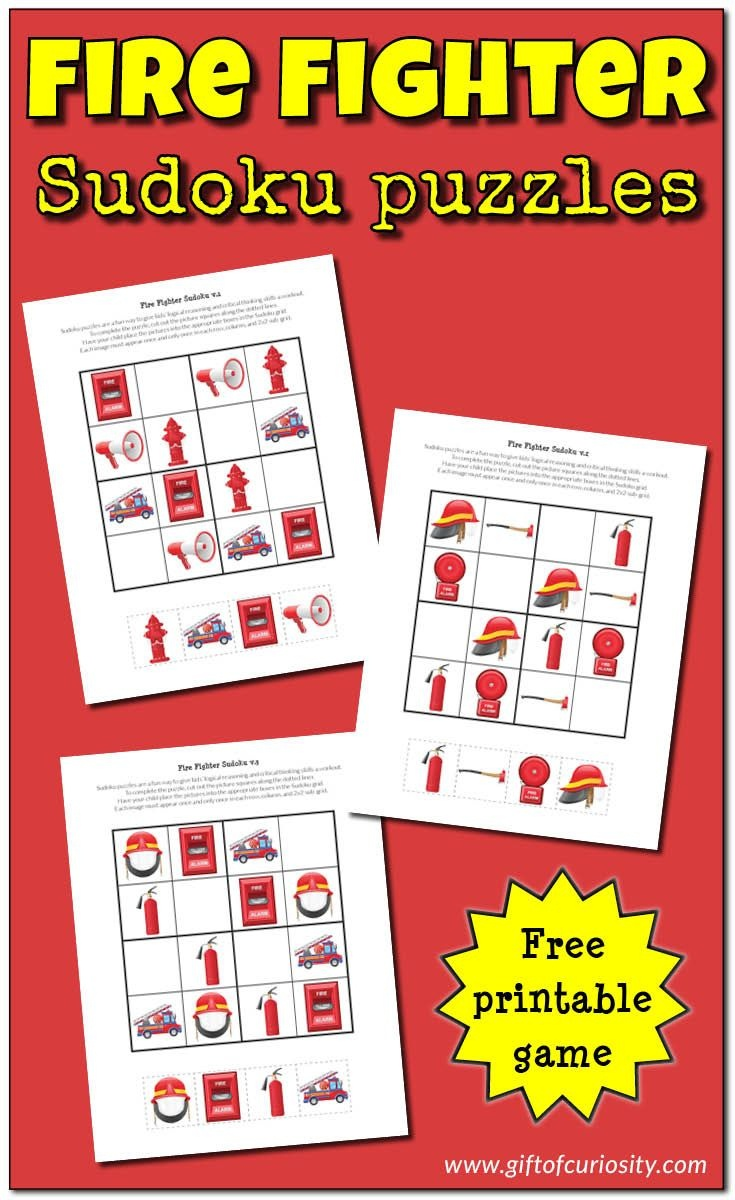 Fire Fighter Sudoku Puzzles {Free Printables}   Free Educational - Free Printable Critical Thinking Puzzles