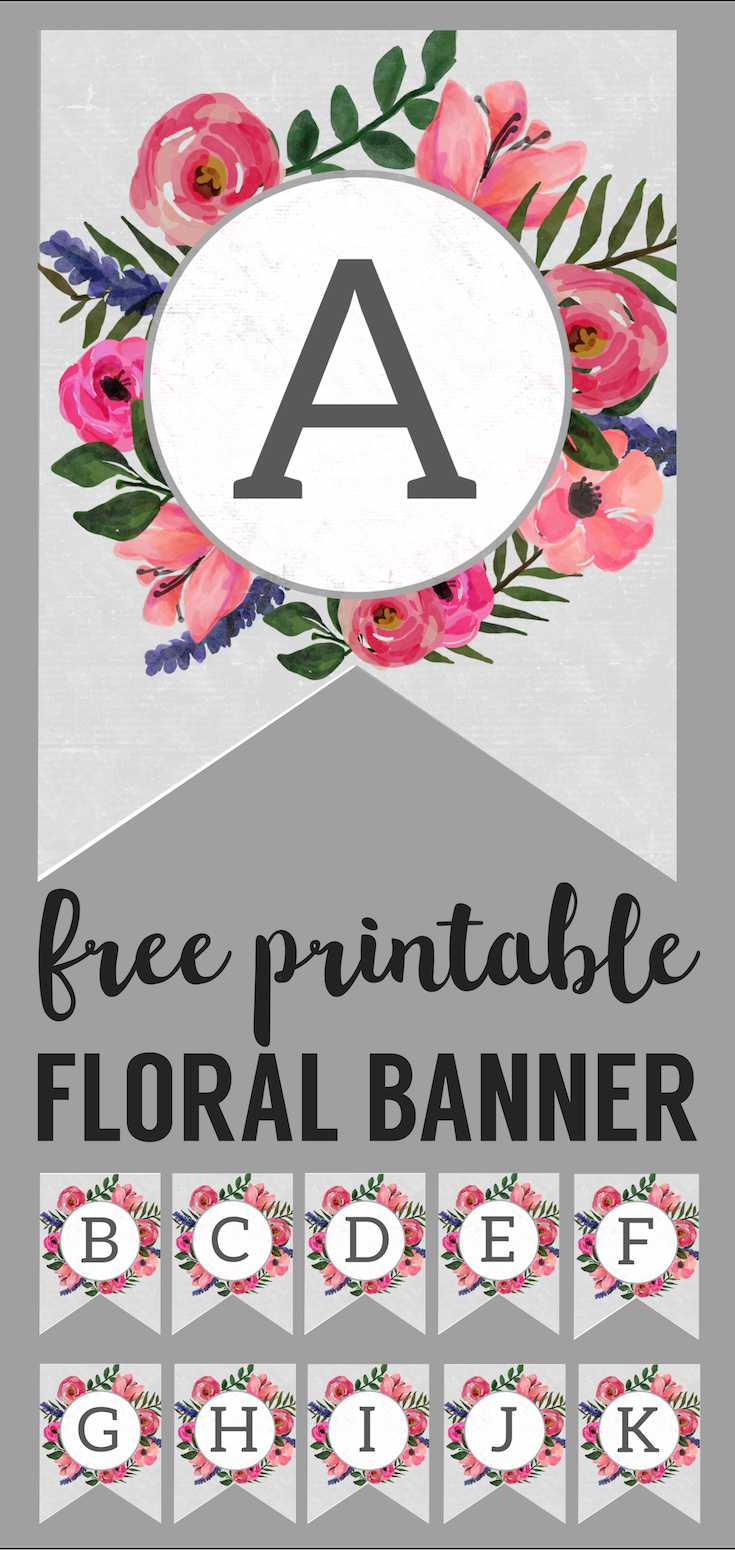 Floral Alphabet Banner Letters Free Printable | Printable Tags - Free Printable Flower Letters