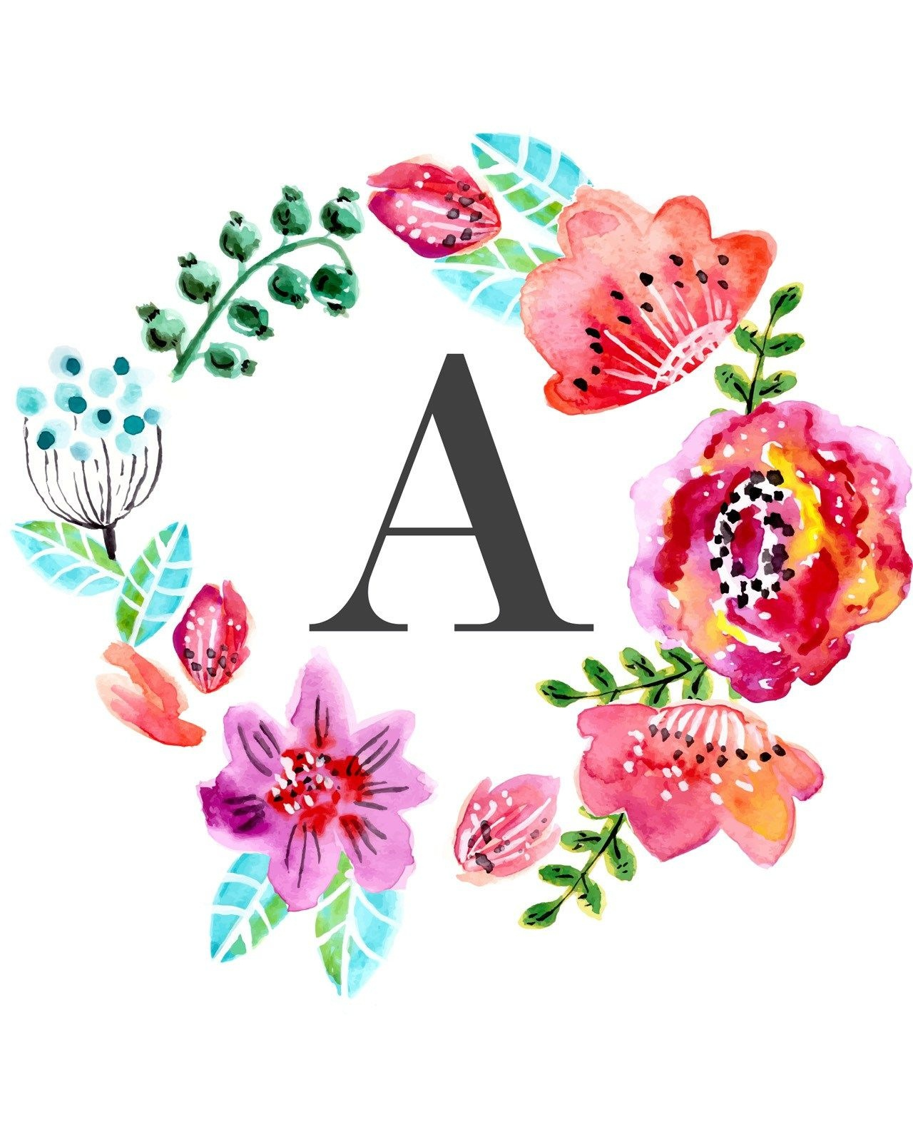 Floral Monogram Free Printable | New Home Ideas | Nursery Wall Art - Free Printable Flower Letters