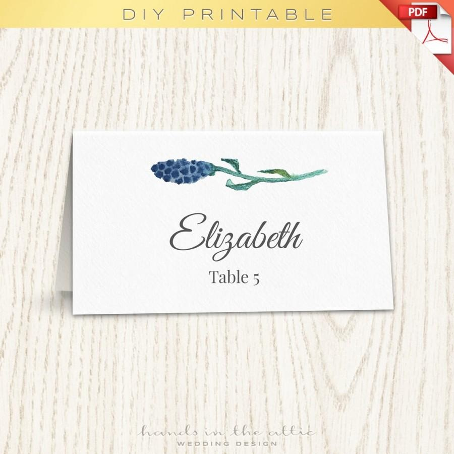 Floral Wedding Placecard Template, Printable Escort Cards, Wedding - Free Printable Damask Place Cards