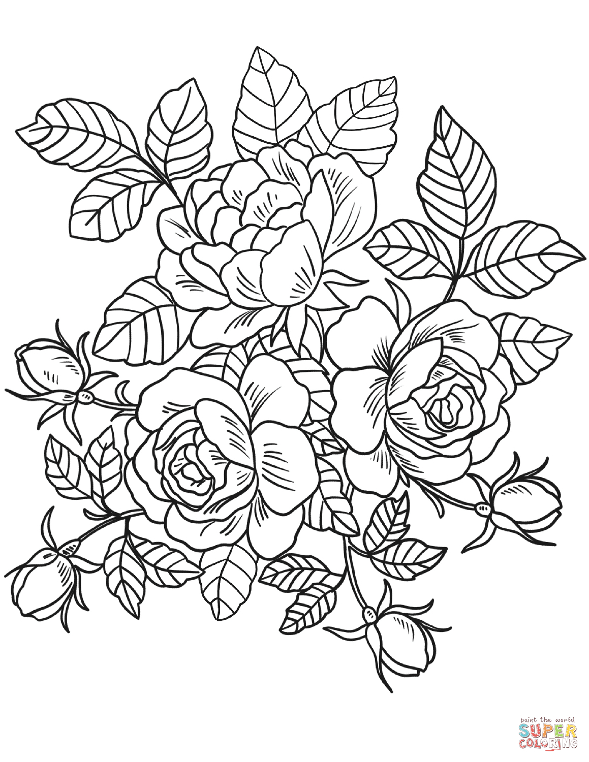 Flowers Coloring Pages Roses Flowers Coloring Page Free Printable - Free Printable Roses