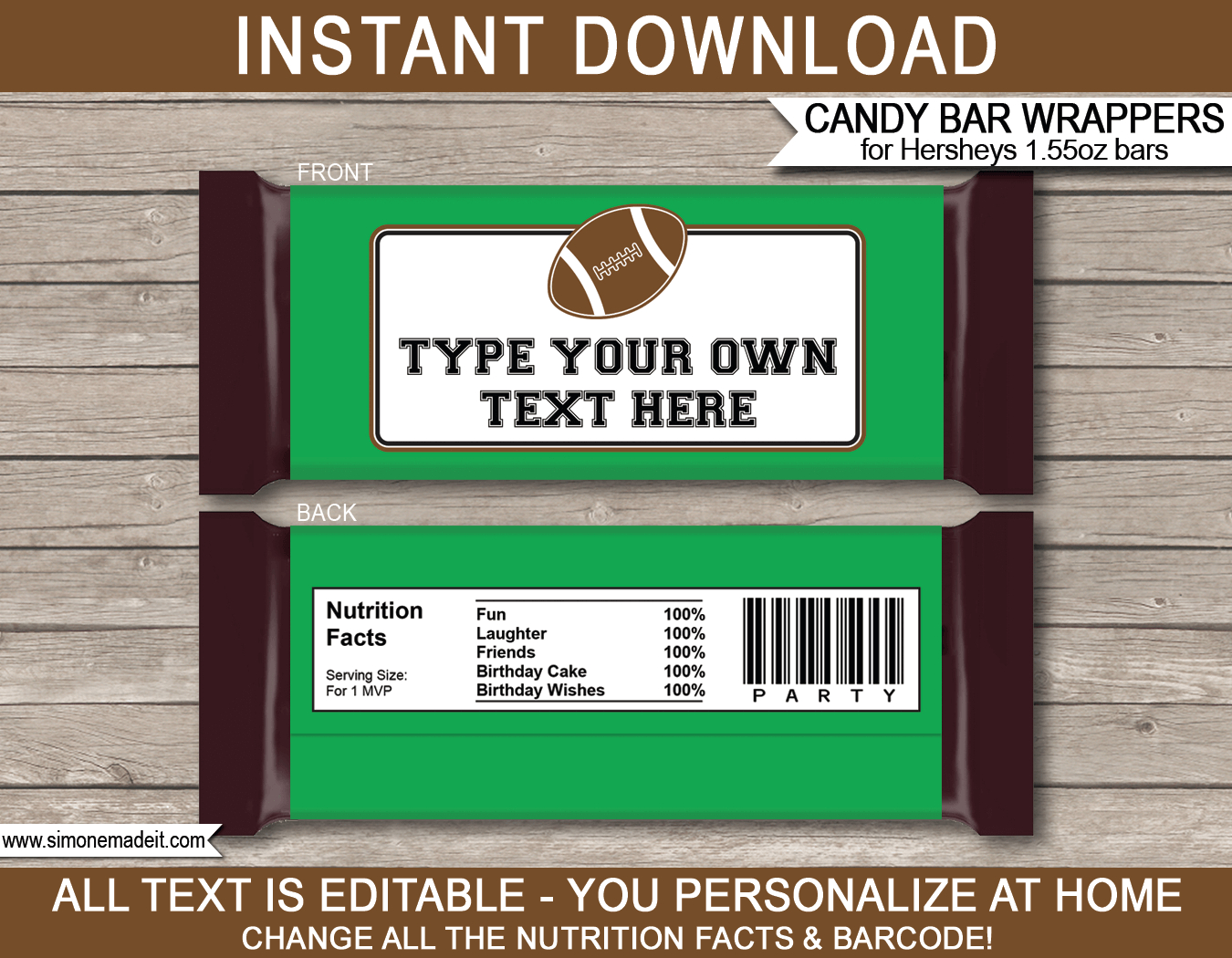 Football Hershey Candy Bar Wrappers | Personalized Candy Bars - Free Printable Birthday Candy Bar Wrappers