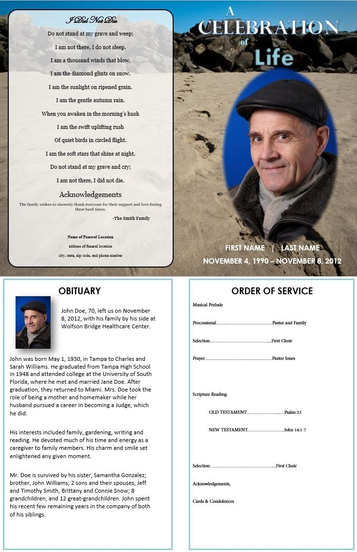Footprints In Sand   Grief   Funeral Program Template Free, Funeral - Free Printable Funeral Programs