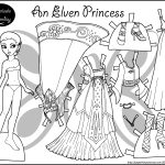 Four Princess Coloring Pages To Print & Dress | Templates And   Free Printable Paper Doll Coloring Pages