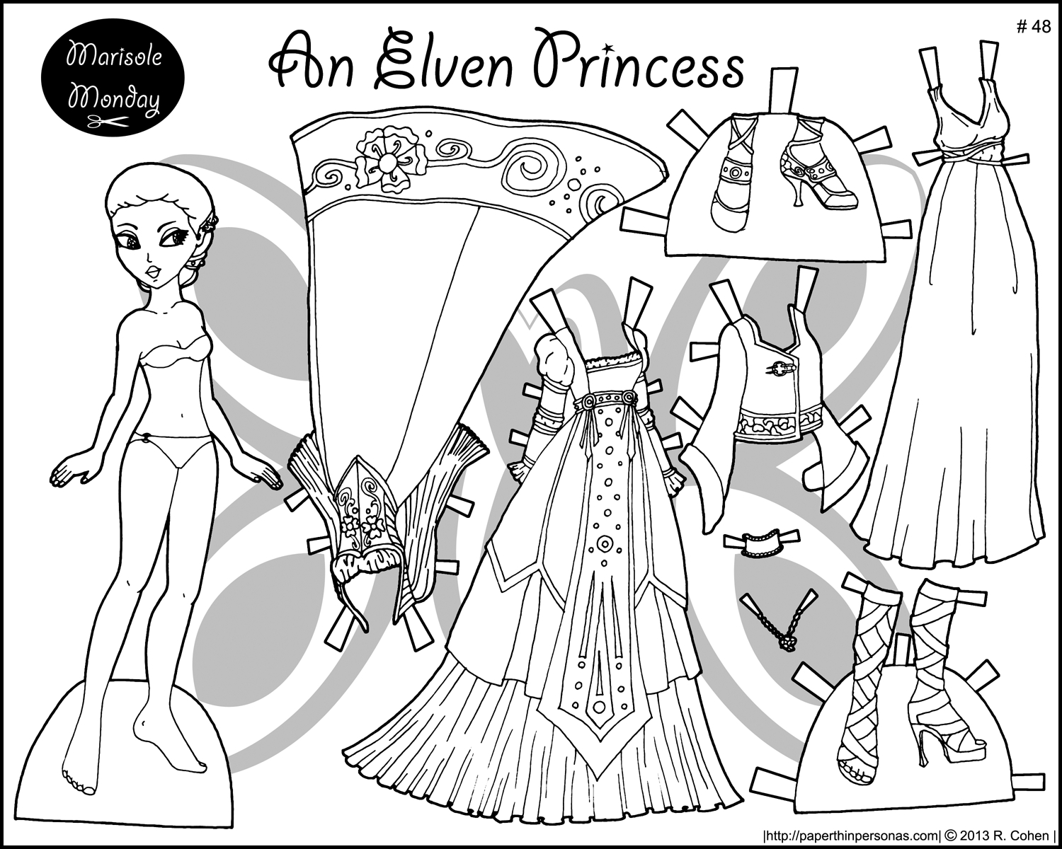 Four Princess Coloring Pages To Print & Dress | Templates And - Free Printable Paper Doll Coloring Pages