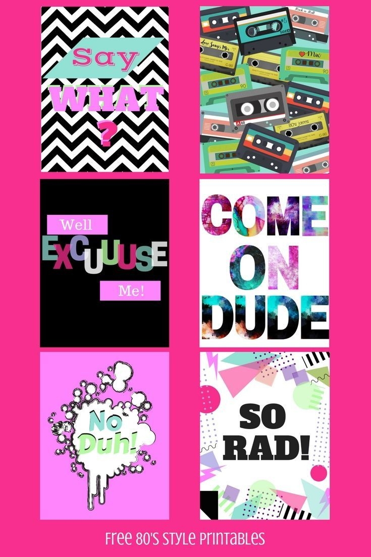 Free 80's Style Printables For All The 80's Lovers Out There - Printable 90S Props Free