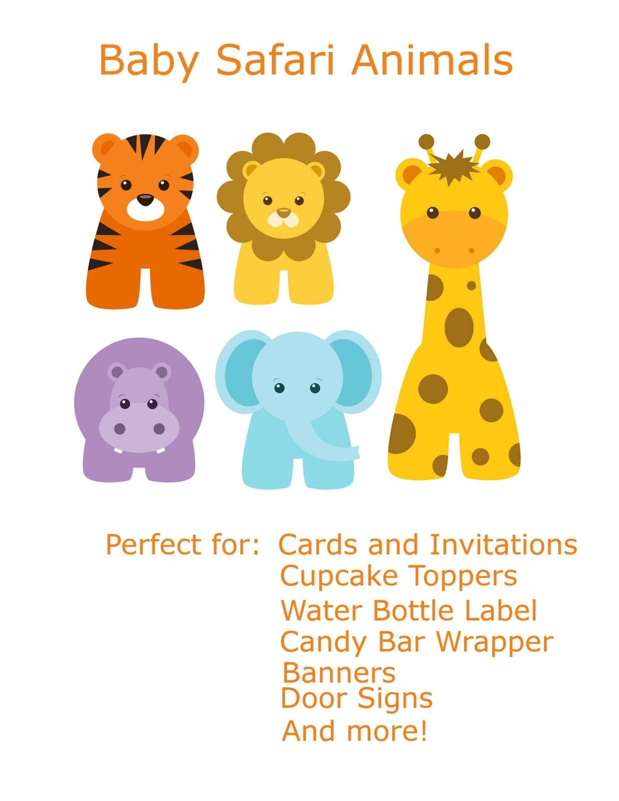 Free Baby Animal Clip Art | Paper Parties: Baby Safari Clip Art - Free Printable Baby Jungle Animal Clipart
