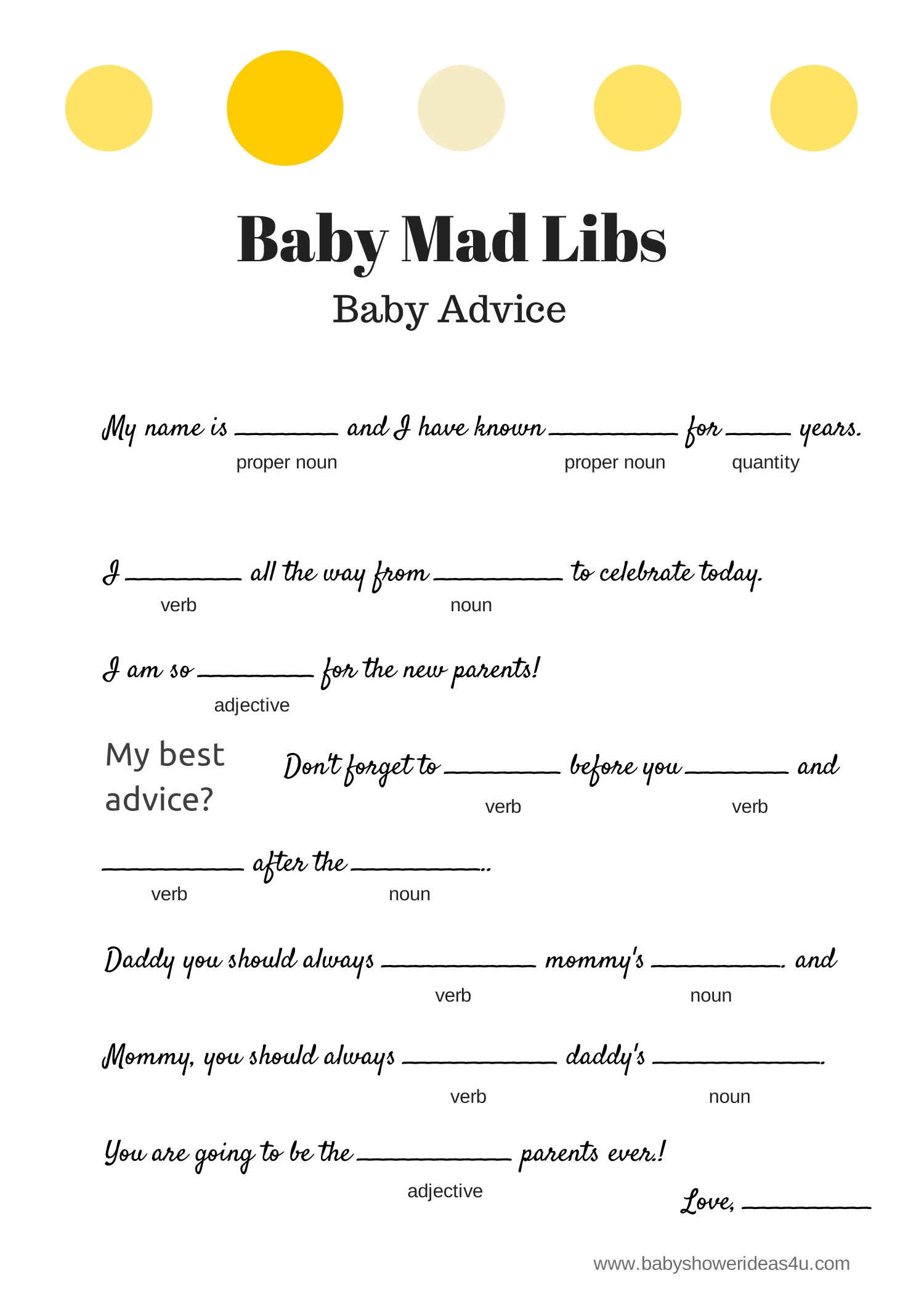 Free Baby Mad Libs Game - Baby Advice - Baby Shower Ideas - Themes - Mad Libs Online Printable Free