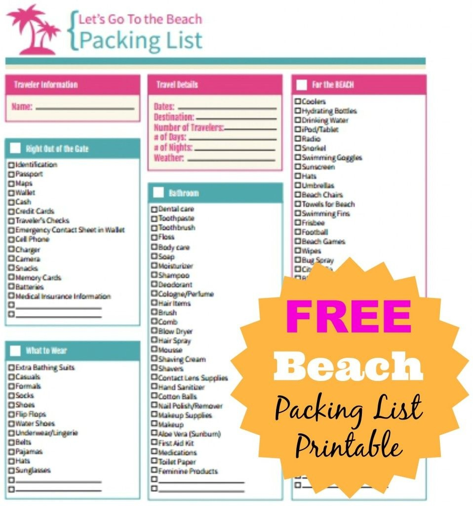 Free Beach Packing List Printable | {Ten Dollar Diy} | Beach - Free Printable Coupons For Panama City Beach Florida