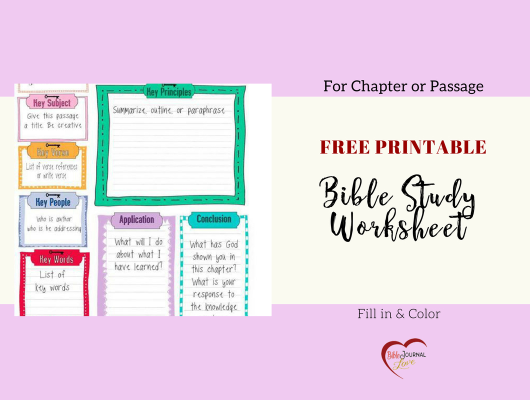 Free Bible Journal Key Worksheet – Bible Journal Love - Free Printable Bible Study Journal Pages