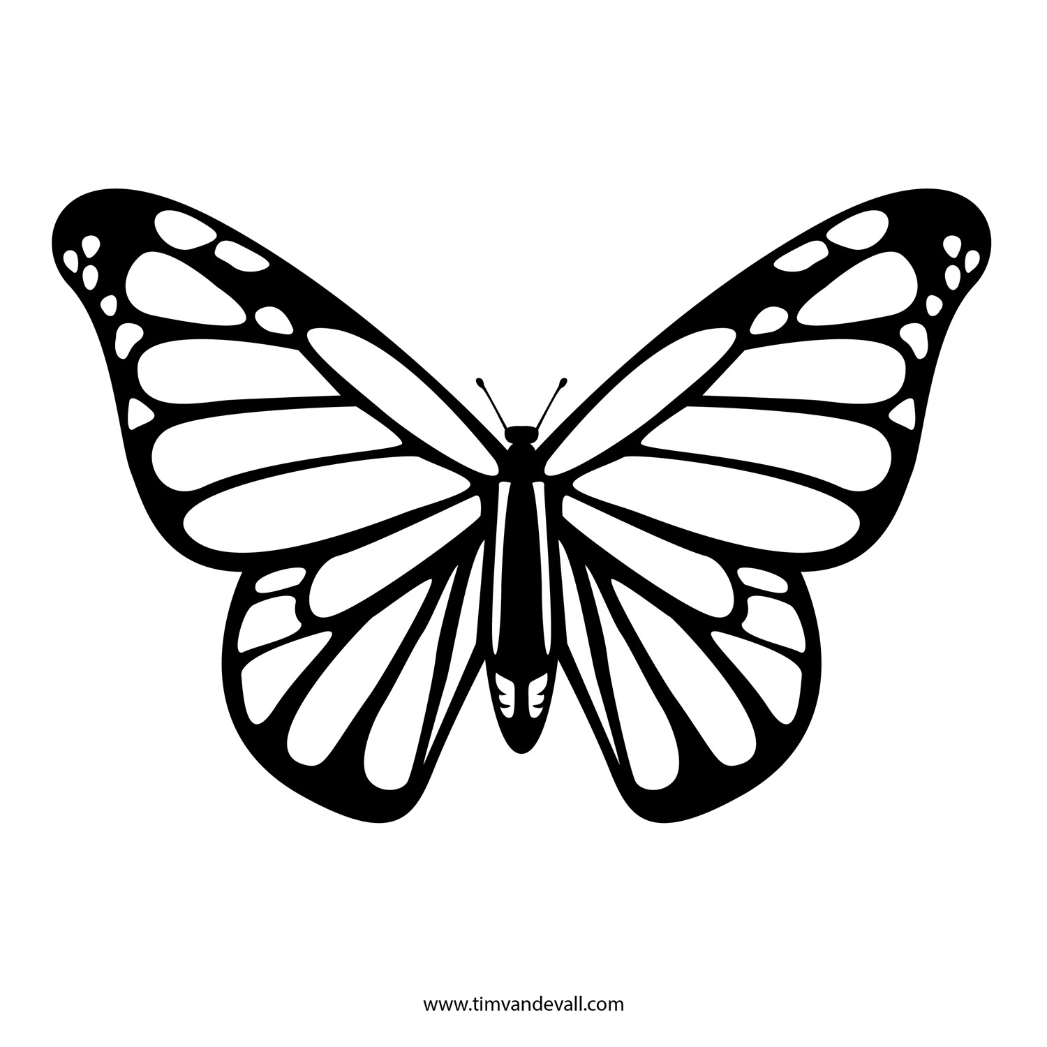 Free Butterfly Stencil   Monarch Butterfly Outline And Silhouette - Free Printable Butterfly