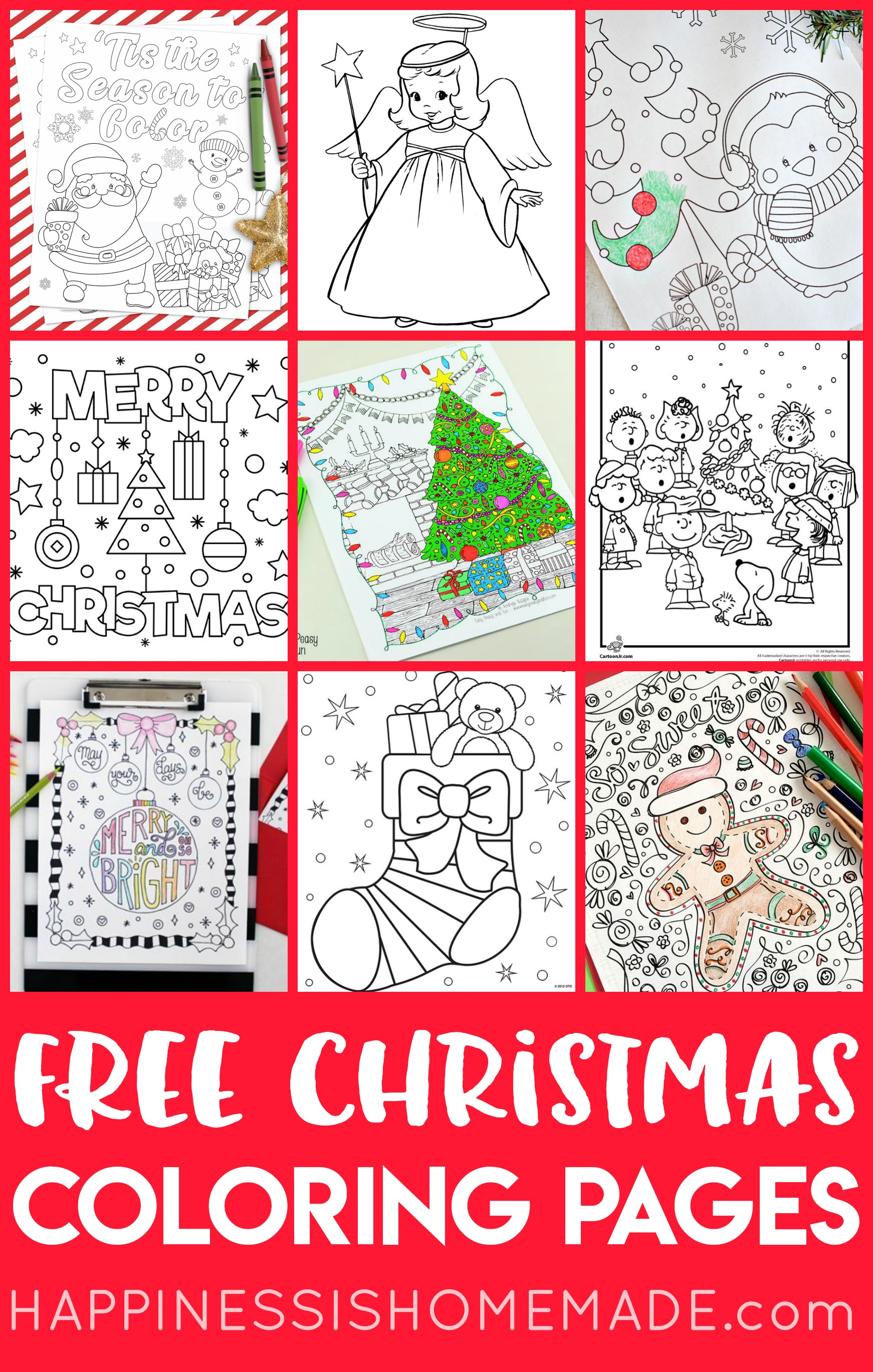 Free Christmas Coloring Pages For Adults And Kids - Happiness Is - Free Printable Christmas Coloring Pages For Kids