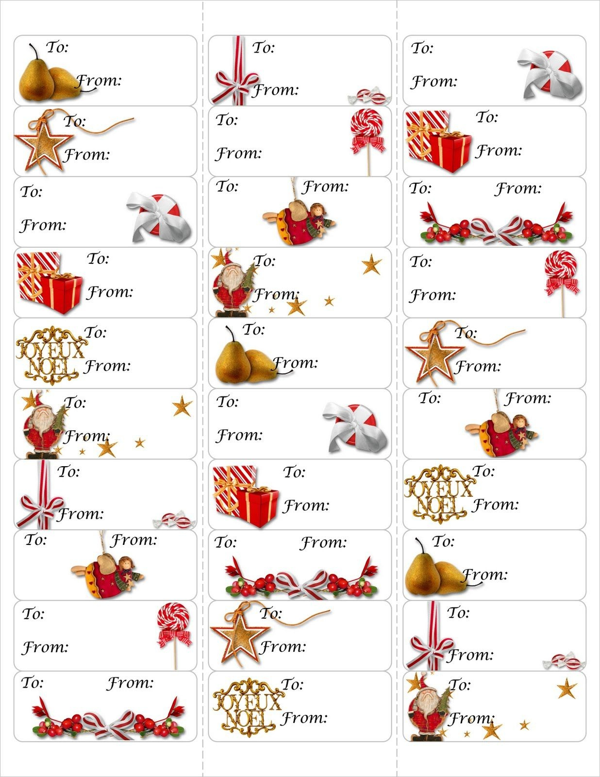 Free Christmas Gift Tag Printable ~ Print Either On Card Stock & Cut - Free Printable Gift Name Tags