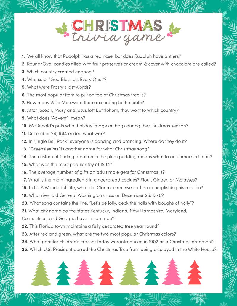 Free Christmas Trivia Game | Lil' Luna - Free Printable Christmas Trivia Quiz