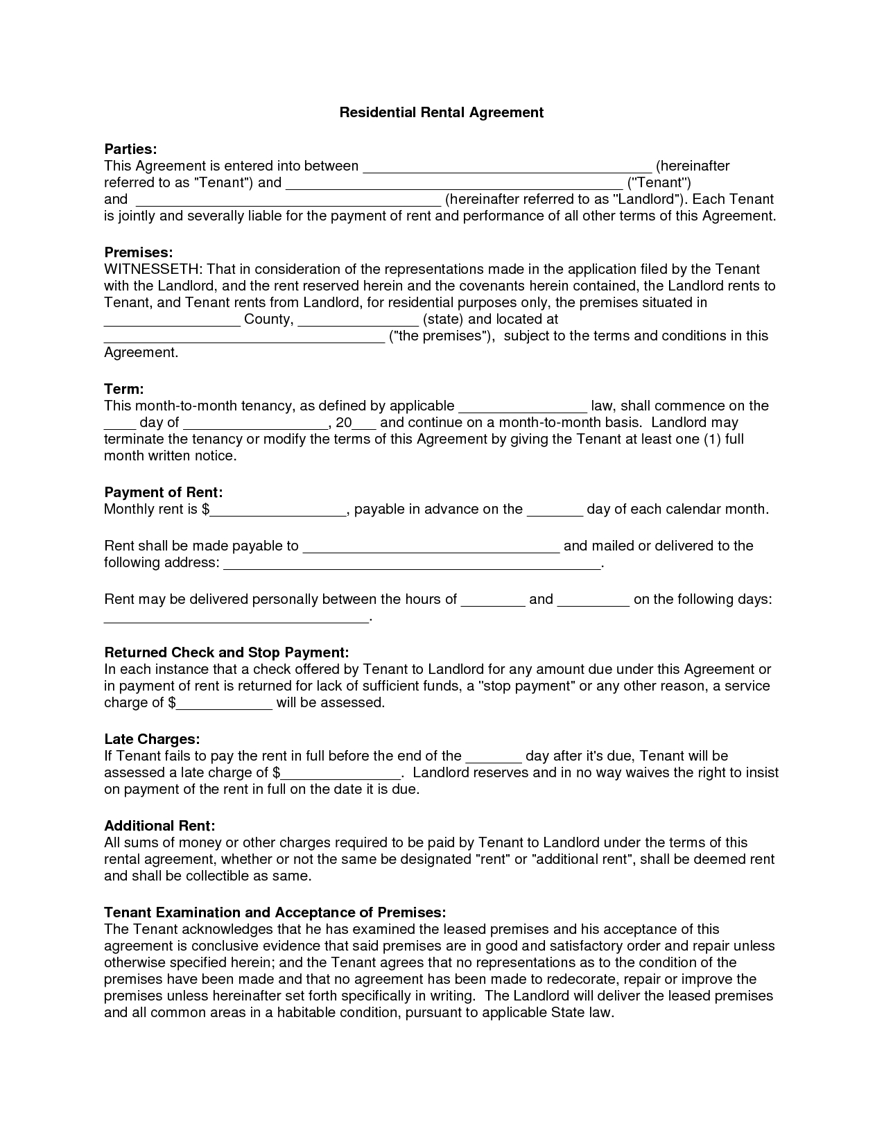 Free Copy Rental Lease Agreement | Residential Rental Agreement - Free Printable Rental Agreement