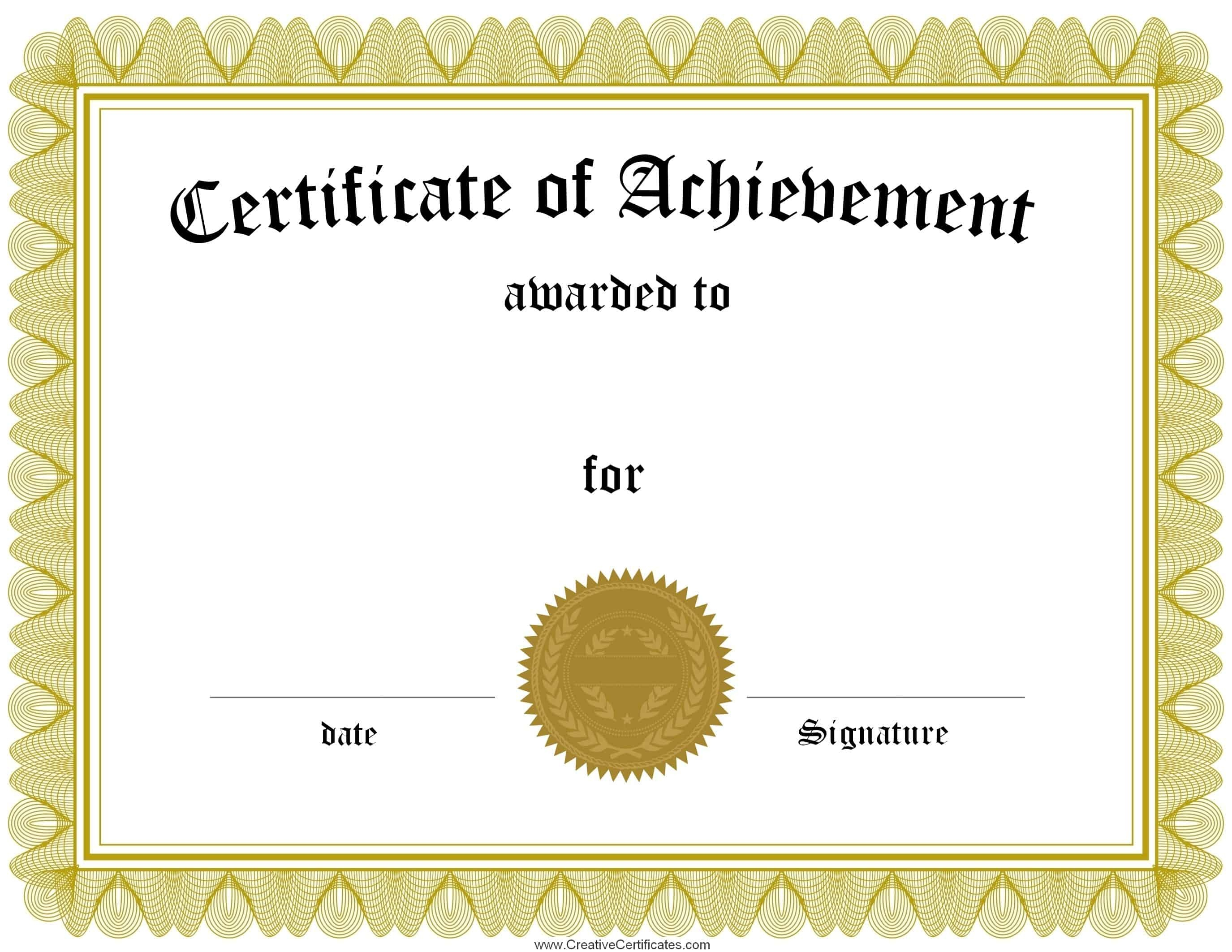 Free Customizable Certificate Of Achievement - Free Printable Certificates Of Accomplishment