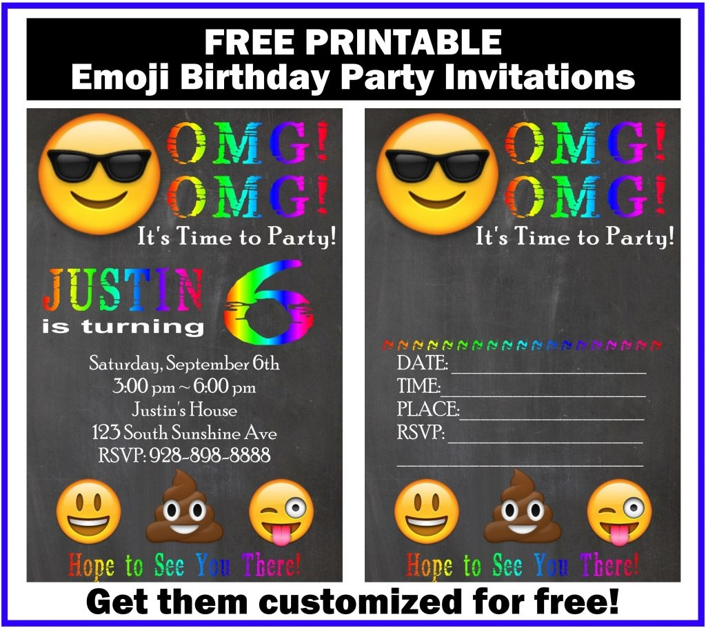 Free Customized Emoji Invitations And Birthday Printables - Free Printable Emoji B Day Invites