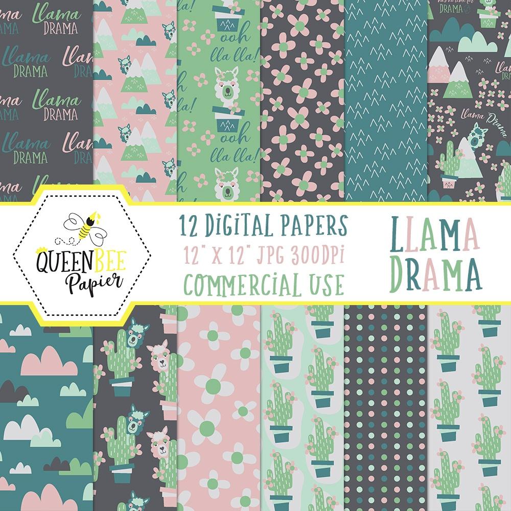 Free Digital (And Printable) Llama Scrapbook Paper • Glitter 'n Spice - Free Printable Scrapbook Decorations