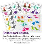 Free Dinosaur Match Game | Kids Craft Stars | Memory Games For Kids   Free Printable Matching Cards