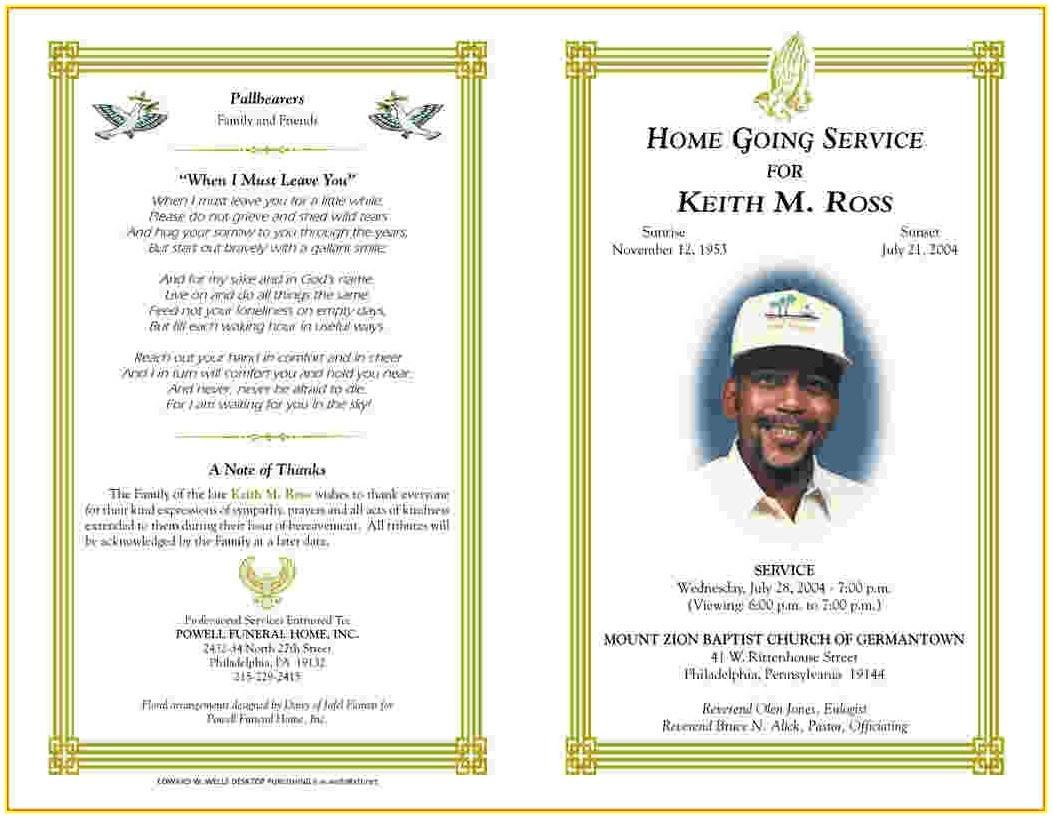 Free Editable Printable Funeral Program Template - Template : Resume - Free Printable Funeral Programs