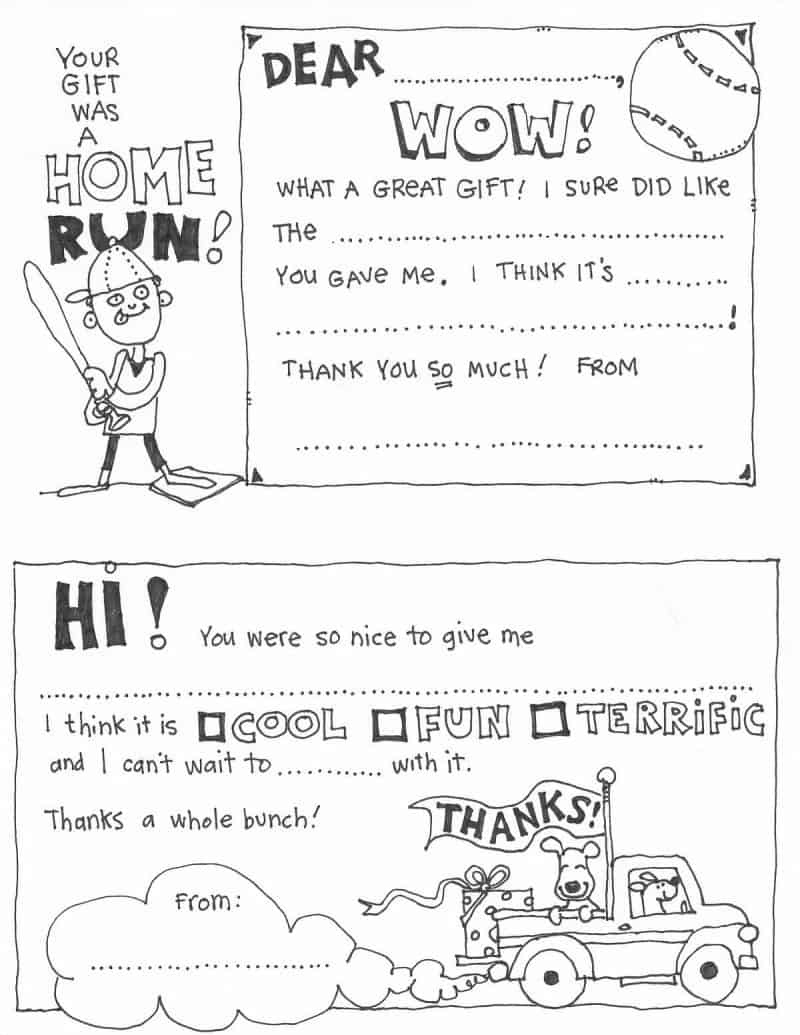 Free Fill In The Blank Thank You Cards For Kids   Skip To My Lou - Free Printable Thank You Cards Black And White