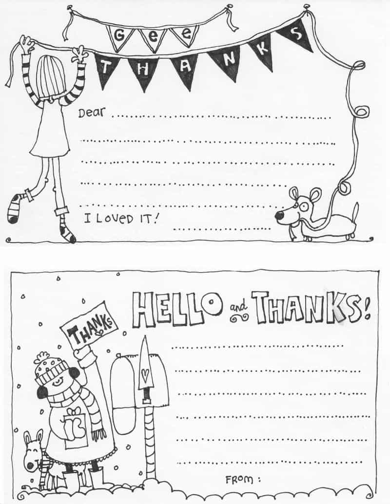 Free Fill In The Blank Thank You Cards For Kids | Skip To My Lou - Free Printable Thank You Cards Black And White