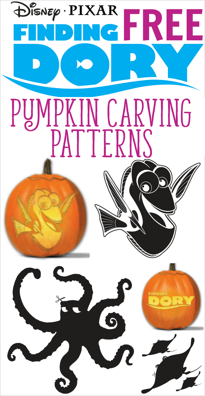 Free Finding Dory Pumpkin Carving Patterns To Print!   All Things - Free Printable Toy Story Pumpkin Carving Patterns