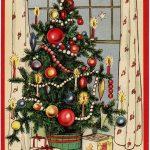 Free Freebie Printable Vintage Christmas Postcard, Christmas Tree   Free Printable German Christmas Cards