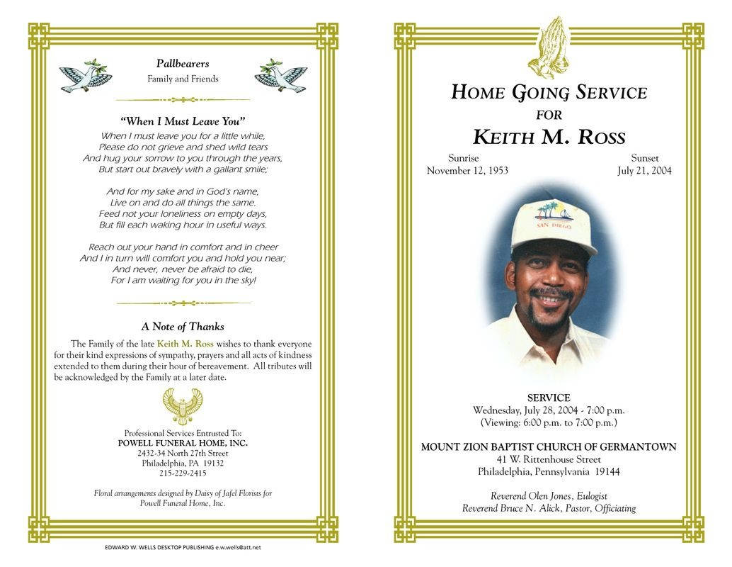 Free Funeral Program Templates | Funeral Program Sample Order Of - Free Printable Memorial Card Template