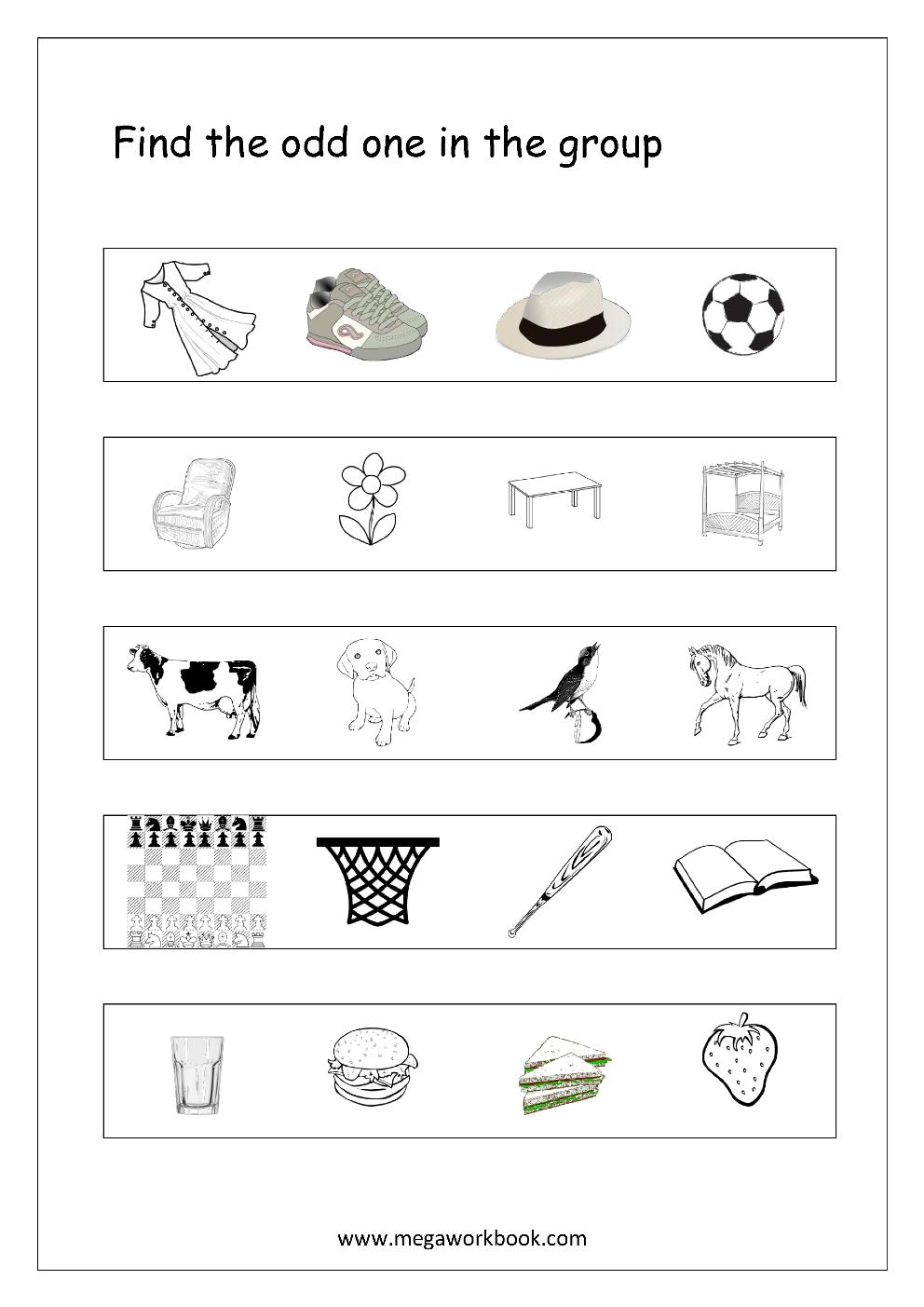 Free General Aptitude Worksheets - Odd One Out - Megaworkbook - Free Printable Aptitude Test