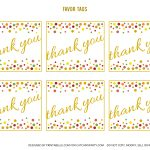 Free Gold And Polka Dot Birthday Printables | Catch My Party   Free Printable Thank You Tags For Birthday Favors