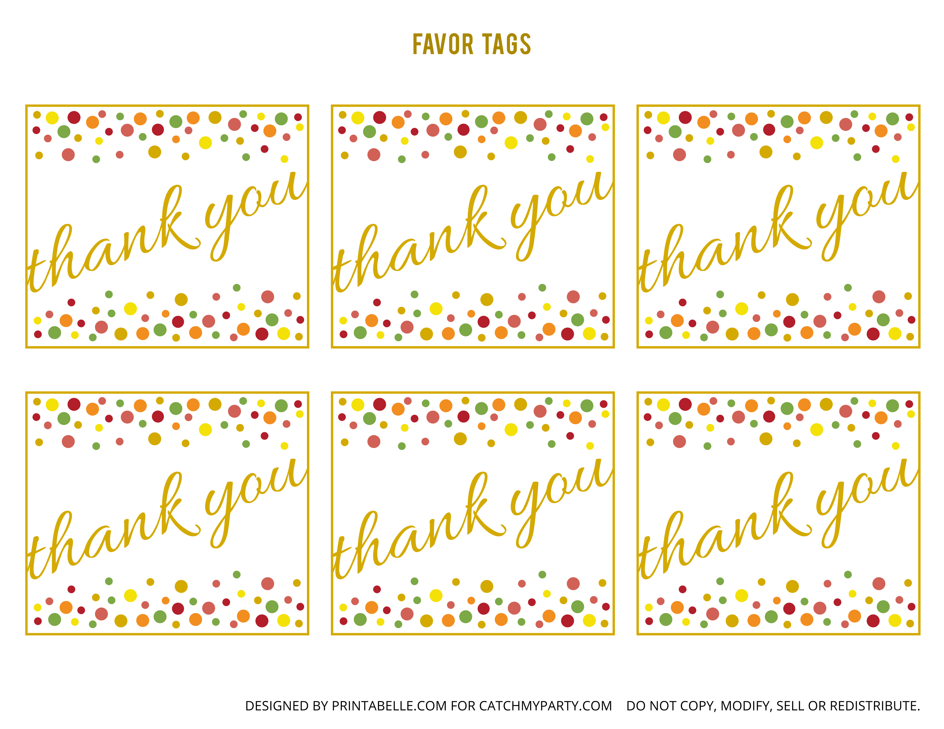 Free Gold And Polka Dot Birthday Printables | Catch My Party - Free Printable Thank You Tags For Birthday Favors