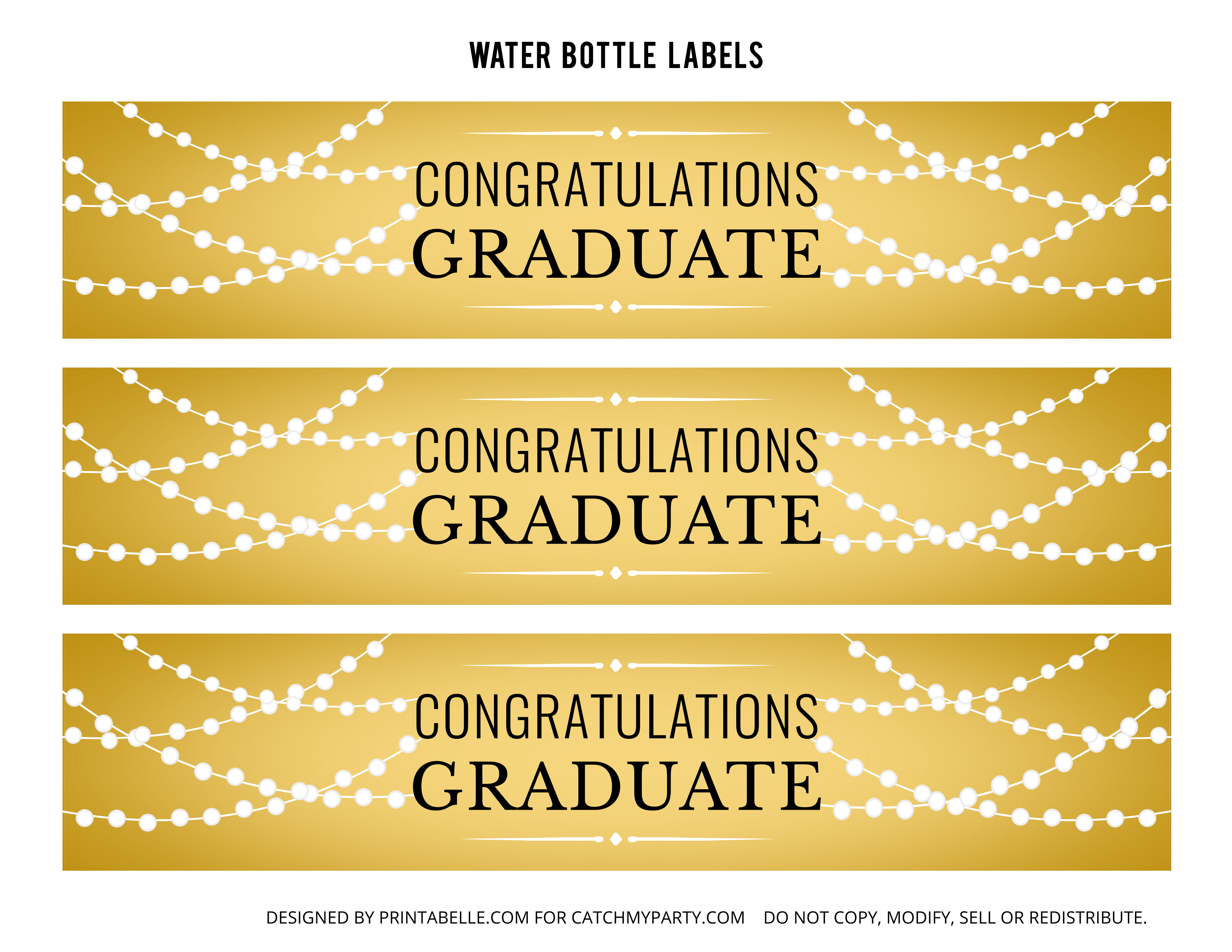 Free Gold Graduation Printables | Catch My Party - Free Printable Water Bottle Labels Graduation