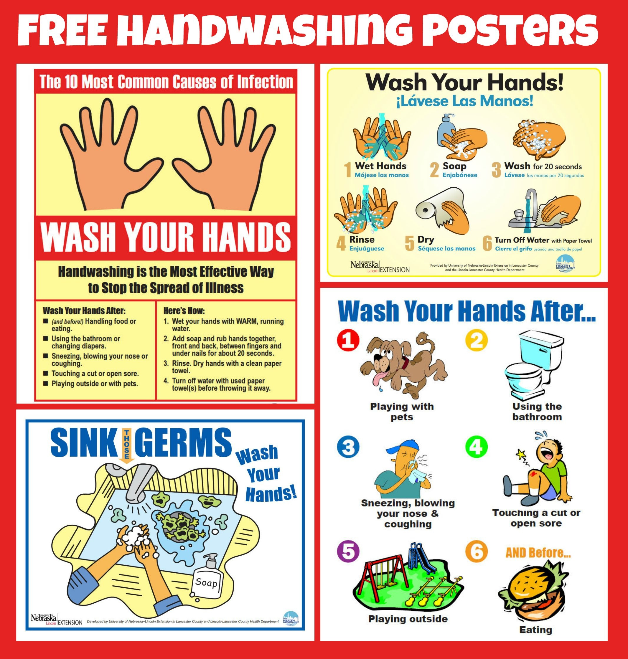 Free #handwashing Posters | Home Economics | School Health, School - Free Printable Hand Washing Posters