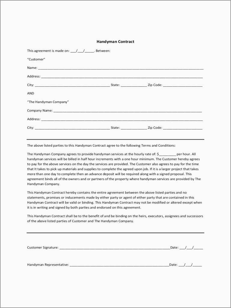 Free Handyman Proposal Templates Unique Handyman Contract Templates - Free Printable Handyman Contracts