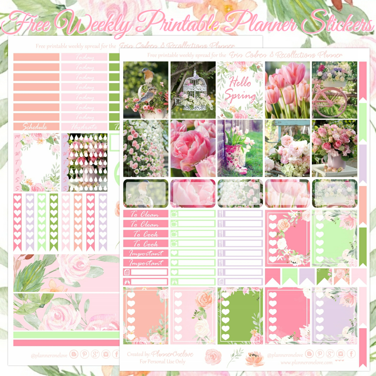 Free Hello Spring Printable Planner Stickers For The Erin Condren - Printable Erin Condren Stickers Free