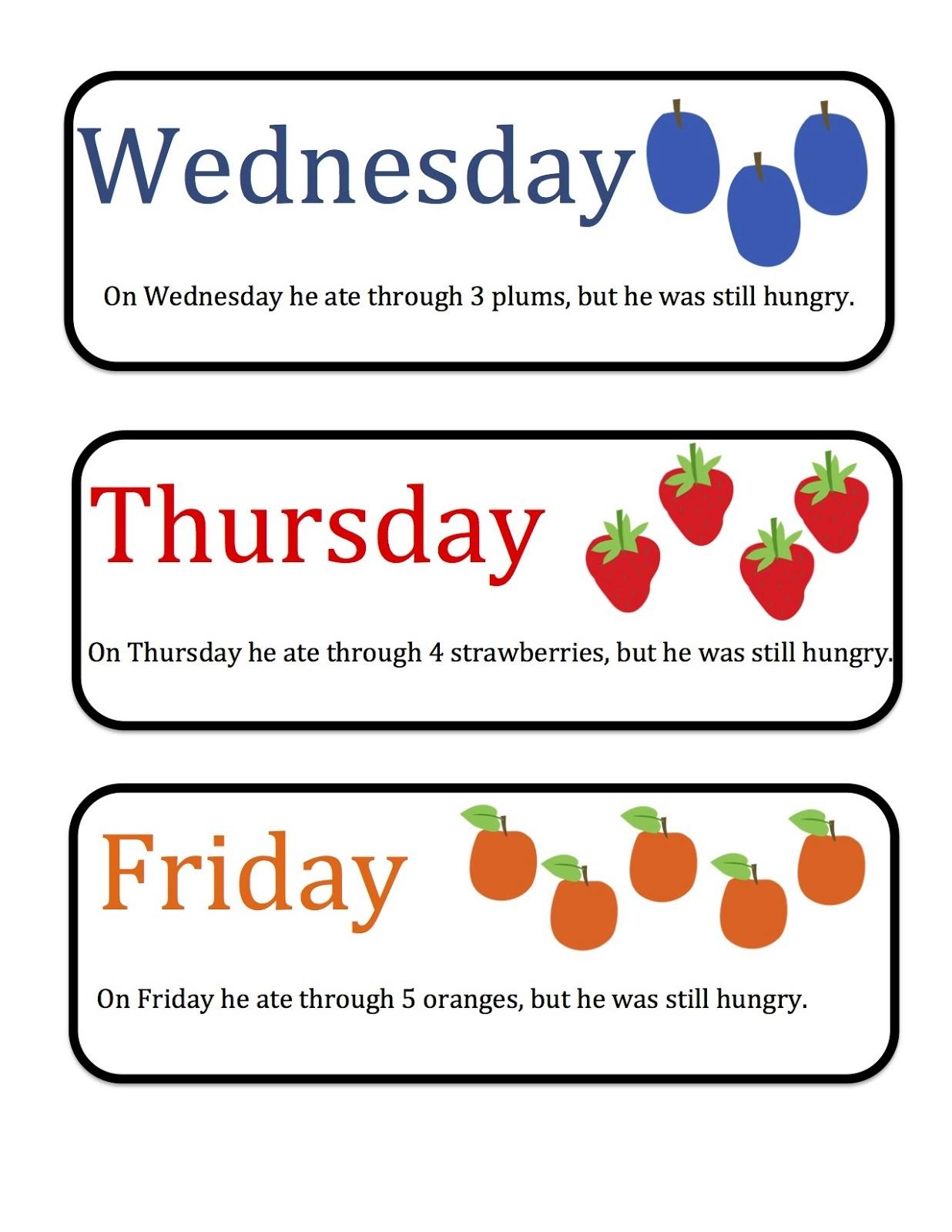 Free Hungry Caterpillar Mini Printable ~ Preschool Printables - Free Printable Days Of The Week Cards
