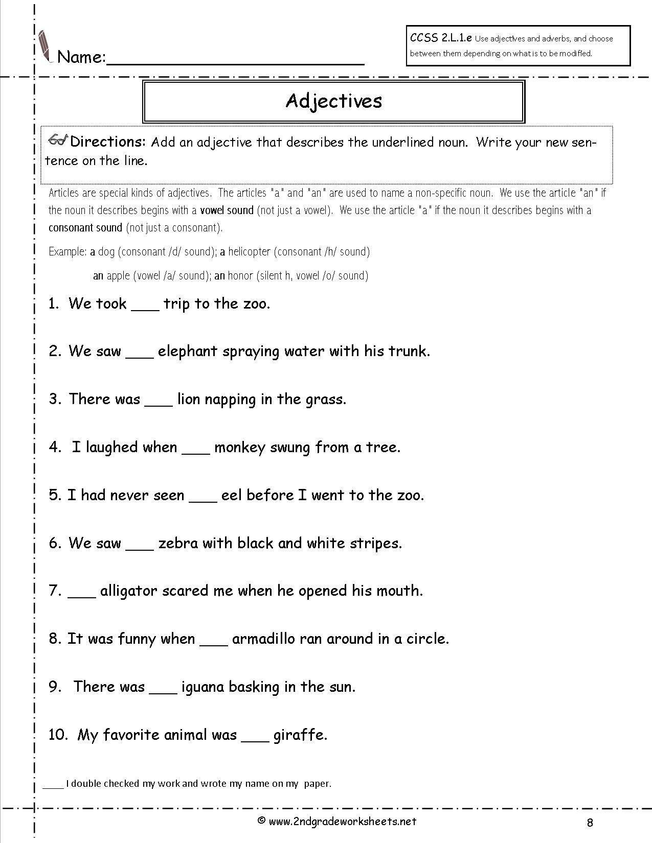 Free Language/grammar Worksheets And Printouts - Free Printable Third Grade Grammar Worksheets