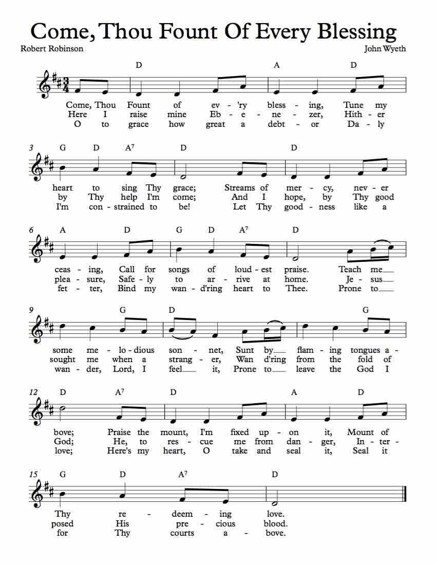 Free Lead Sheet – Come Thou Fount Of Every Blessing In 2019 | Free - Free Printable Sheet Music Lyrics
