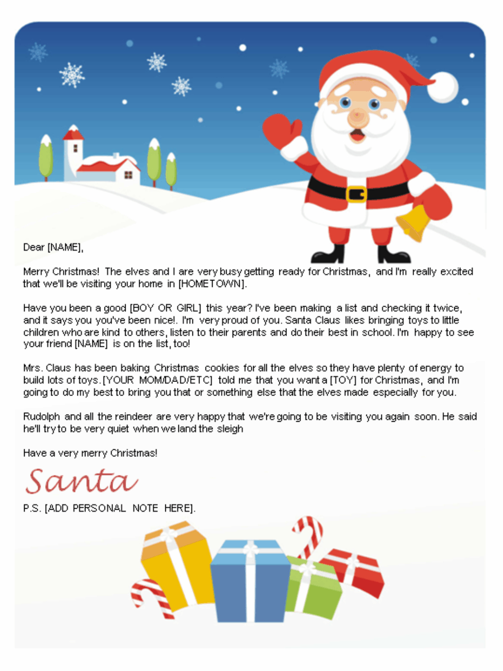 Free Letters From Santa | Santa Letters To Print At Home - Gifts - Free Personalized Printable Letters From Santa Claus